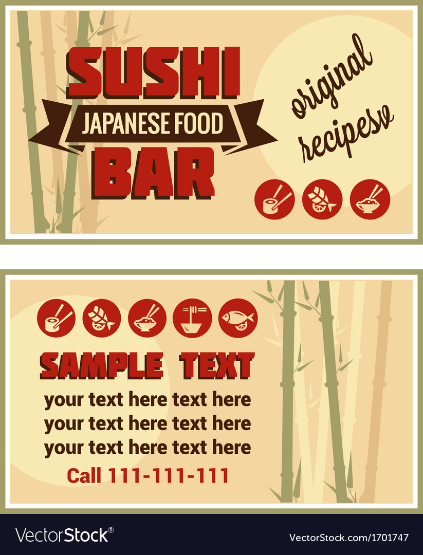 Visiting card of sushi bar vector | Price: 1 Credit (USD $1)