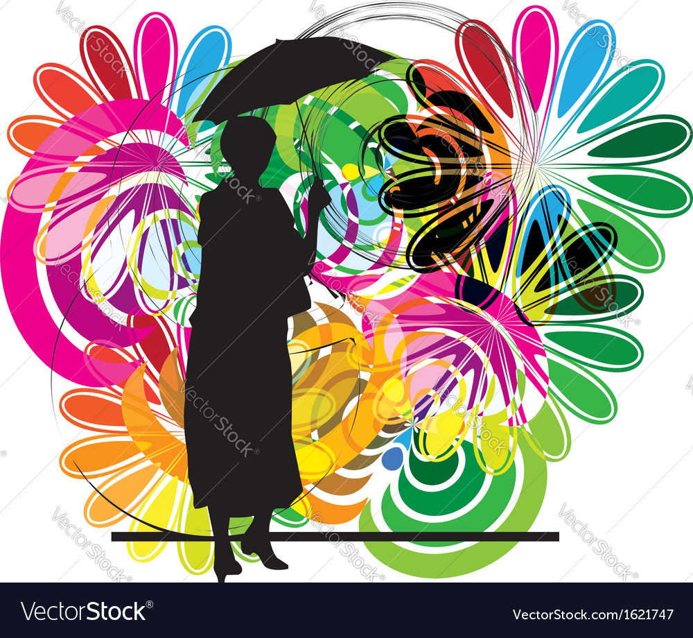 Woman with umbrella vector | Price: 1 Credit (USD $1)