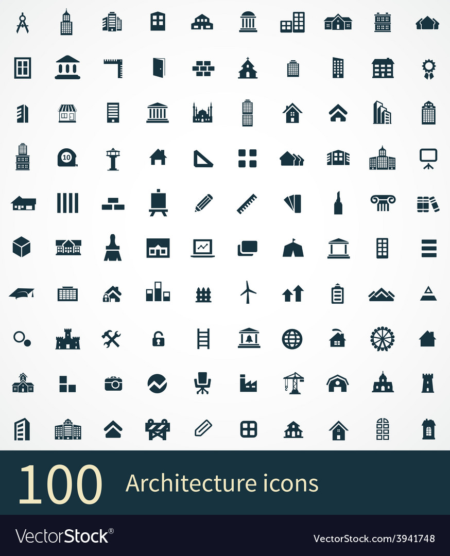 100 architecture icon vector | Price: 1 Credit (USD $1)