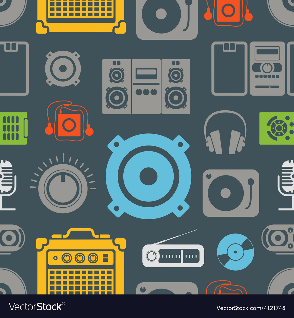 Audio equipment icons color seamless pattern vector | Price: 1 Credit (USD $1)