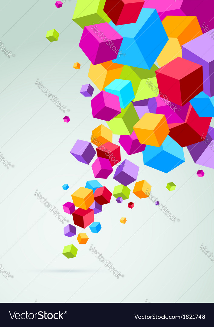 Banner with colorful cubes vector
