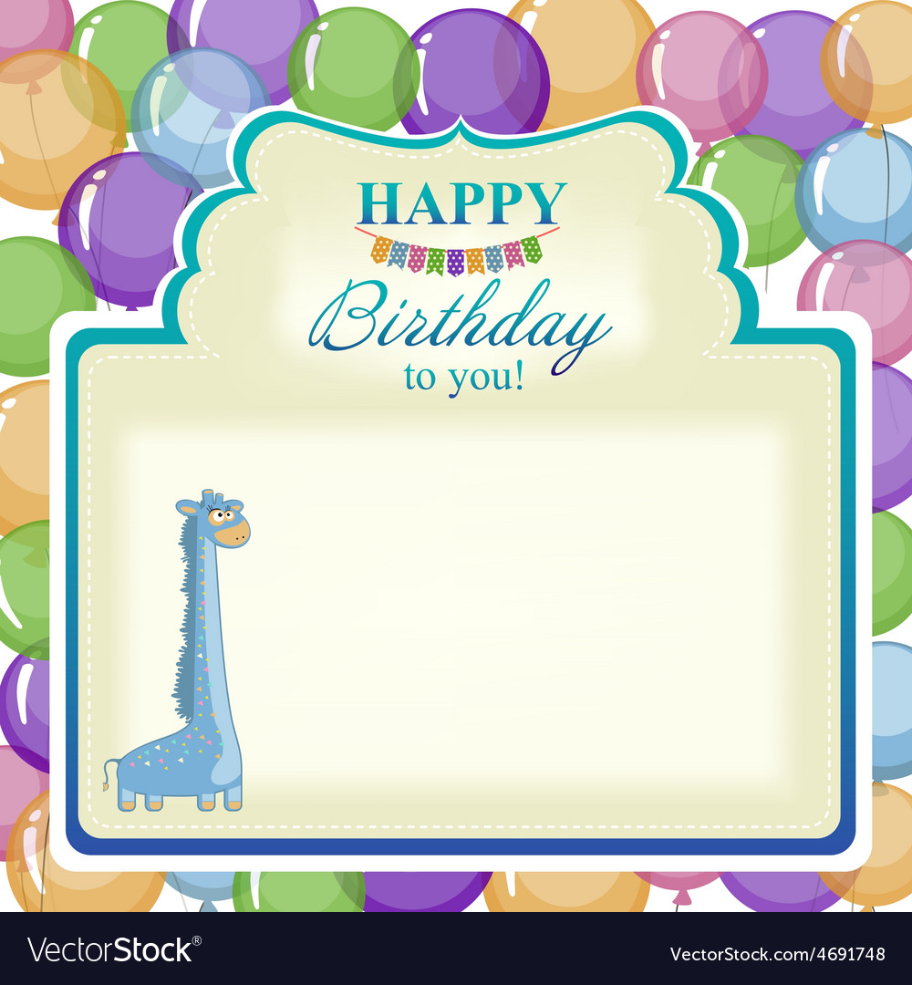 Childrens greeting background with blue giraffe vector   Price: 1 Credit (USD $1)
