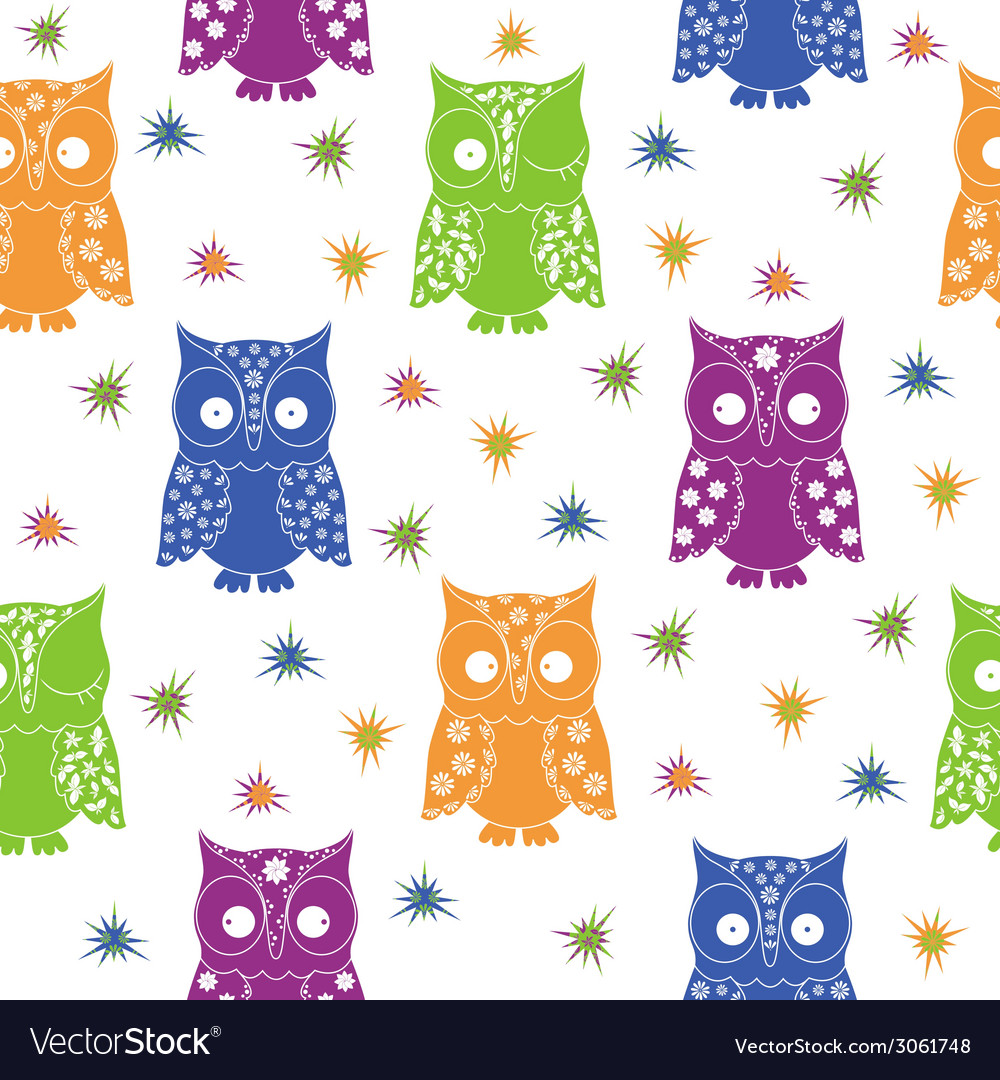 Colourful owl and stars seamless pattern vector | Price: 1 Credit (USD $1)