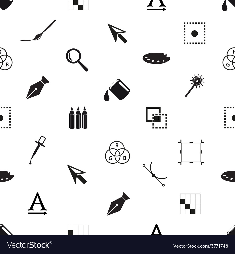 Computer graphics black and white seamless pattern vector | Price: 1 Credit (USD $1)