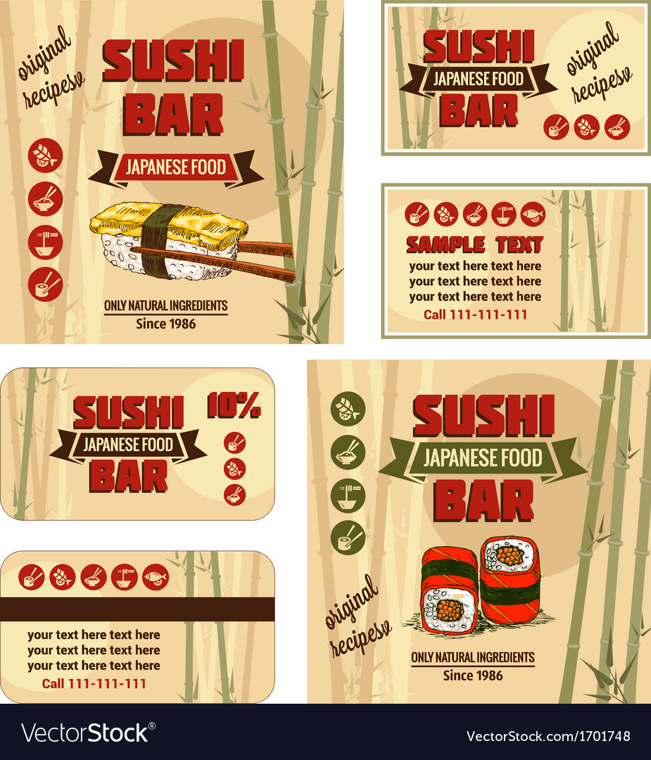 Corporate identity for sushi bar vector | Price: 1 Credit (USD $1)