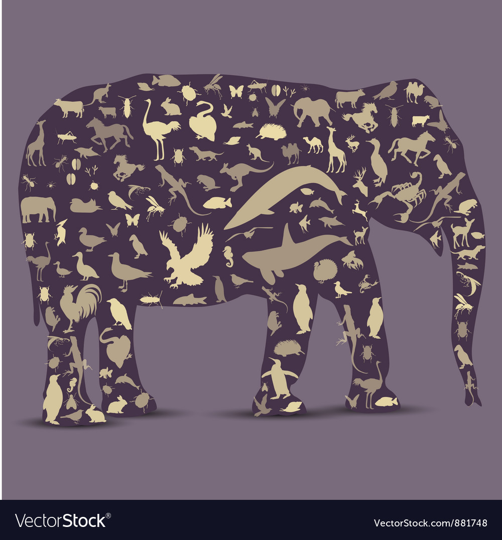 Elephant globe outline made from animals icons vector | Price: 1 Credit (USD $1)