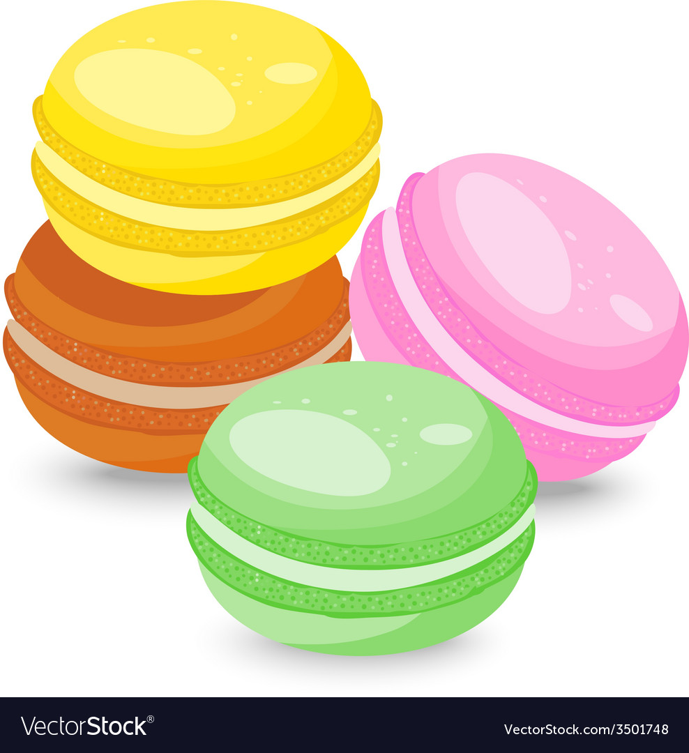 French macarons isolated on white background vector | Price: 1 Credit (USD $1)