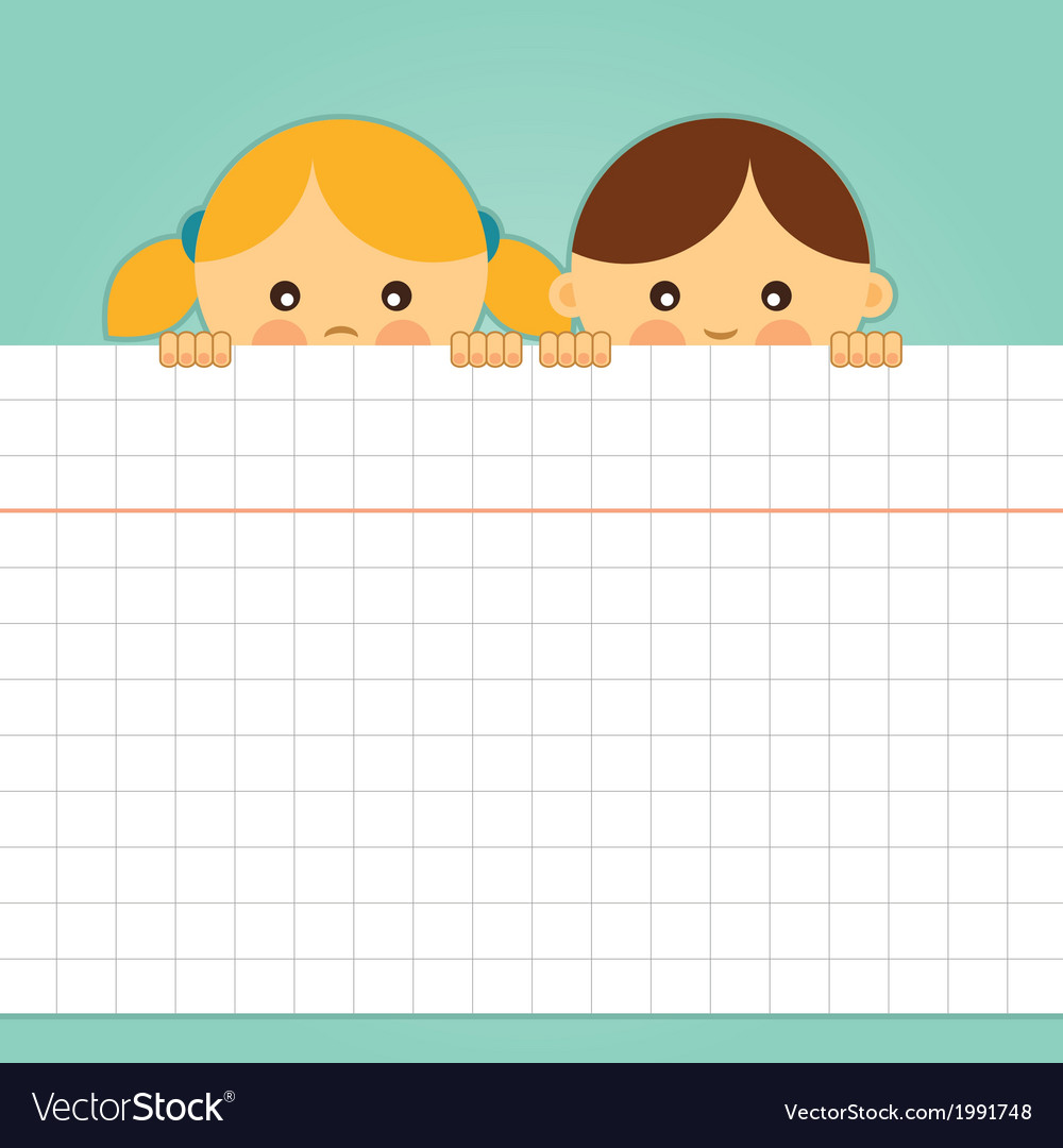Girl and boy holding a blank squared paper sheet vector | Price: 1 Credit (USD $1)