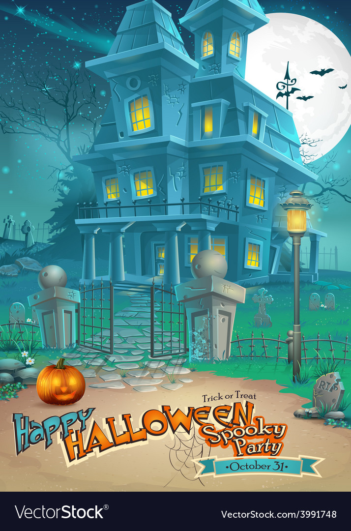 Holiday card with a mysterious halloween haunted vector | Price: 3 Credit (USD $3)
