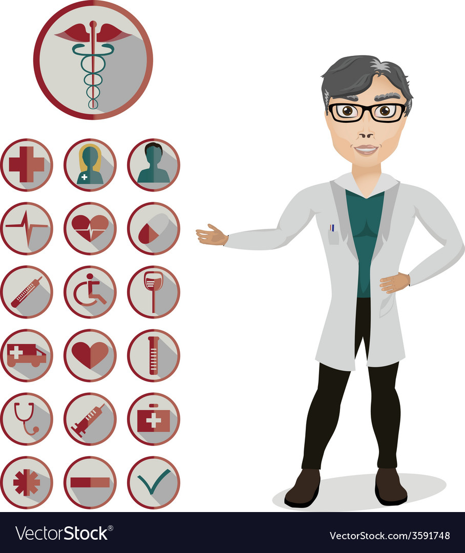 Man doctor and 18 medical icons vector | Price: 1 Credit (USD $1)