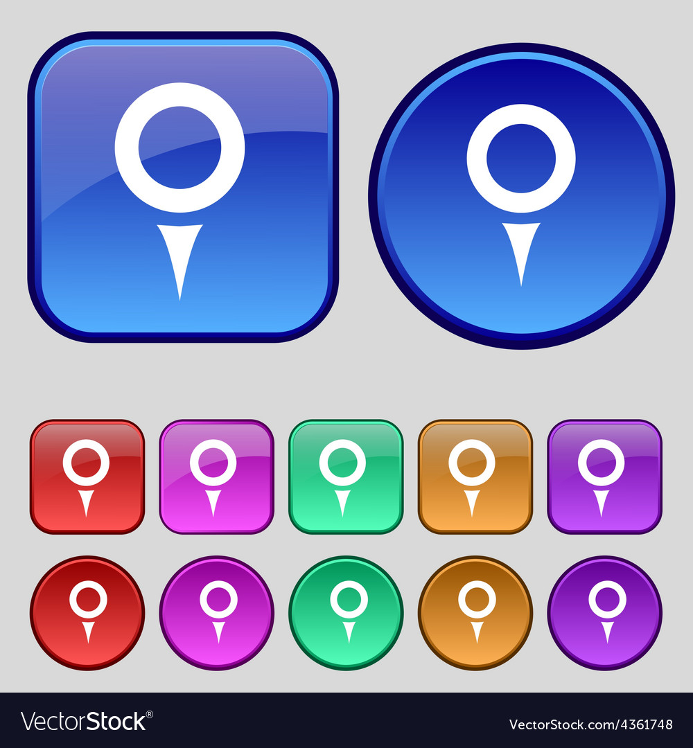 Map pointer gps location icon sign a set of twelve vector | Price: 1 Credit (USD $1)