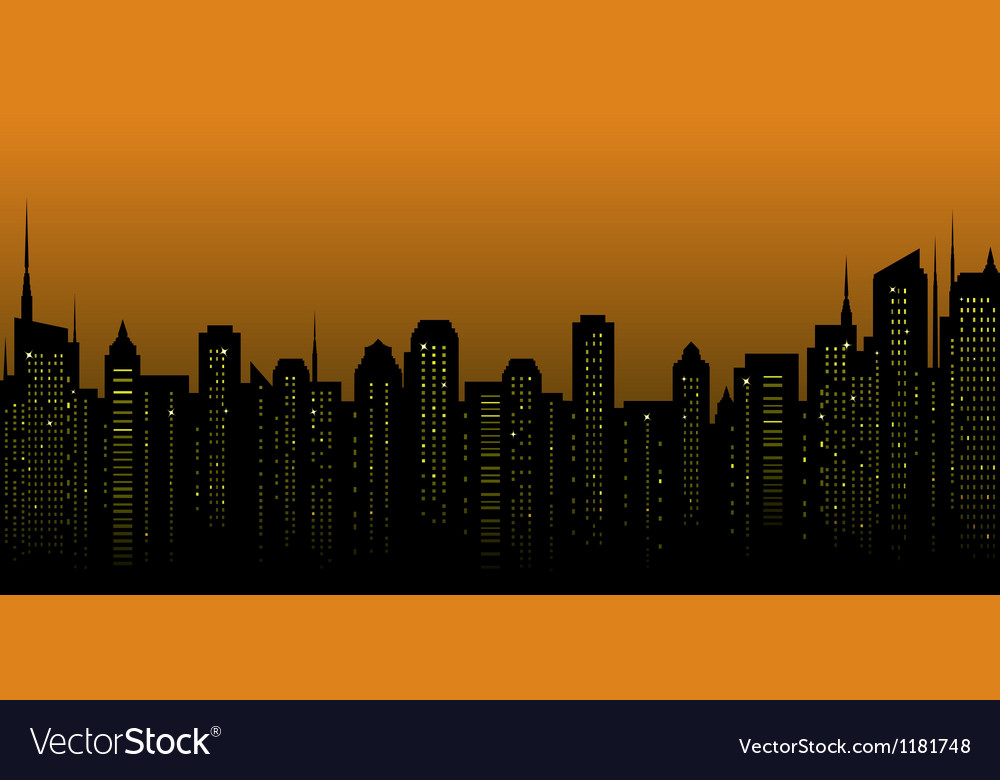 Night city landscape and many skyscrapers vector | Price: 1 Credit (USD $1)