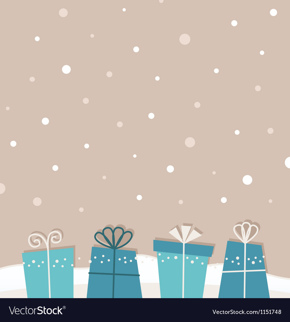 Retro christmas snowing background with gifts vector | Price: 1 Credit (USD $1)