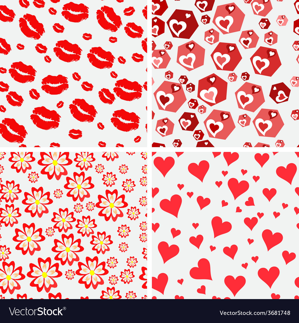 Set of seamless love patterns vector | Price: 1 Credit (USD $1)