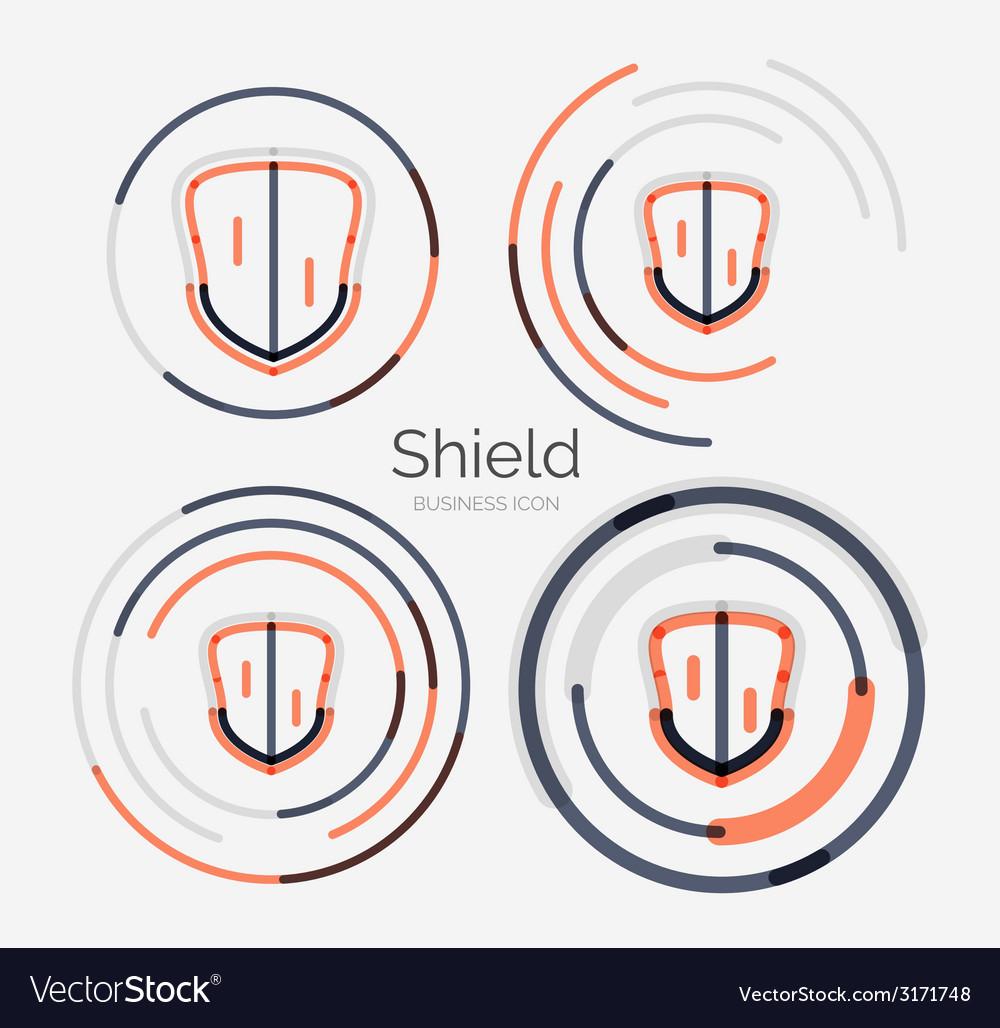 Thin line neat design logo shield icon set vector   Price: 1 Credit (USD $1)