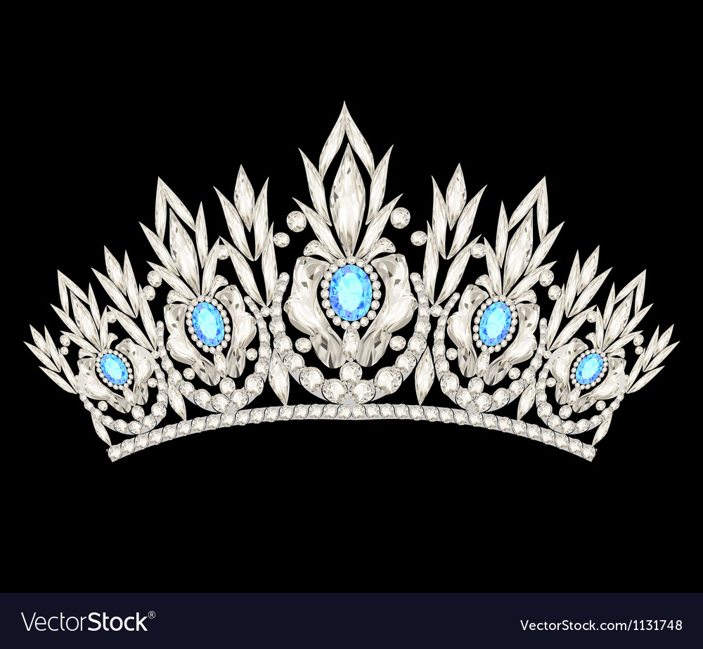 Tiara crown womens wedding with a light blue stone vector | Price: 1 Credit (USD $1)