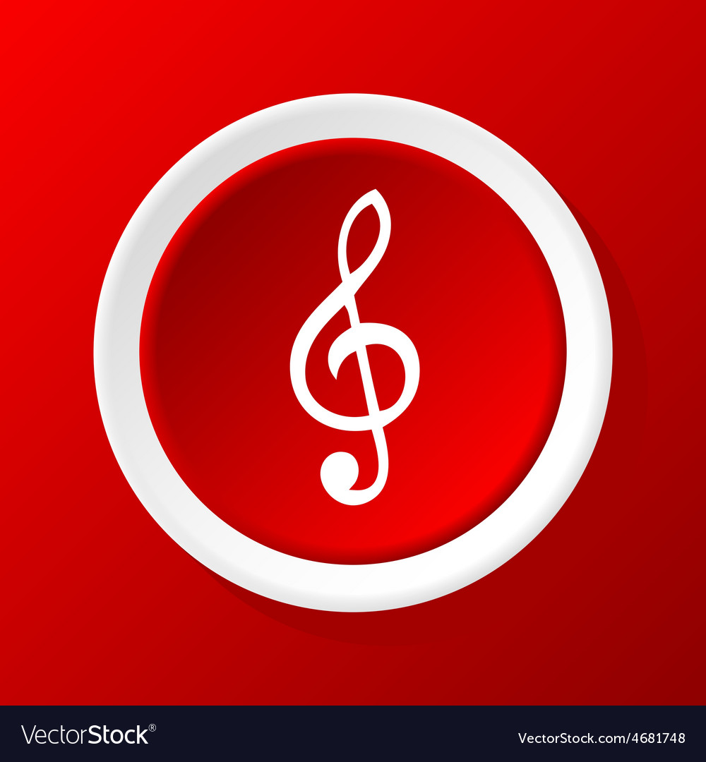 Treble clef icon on red vector | Price: 1 Credit (USD $1)
