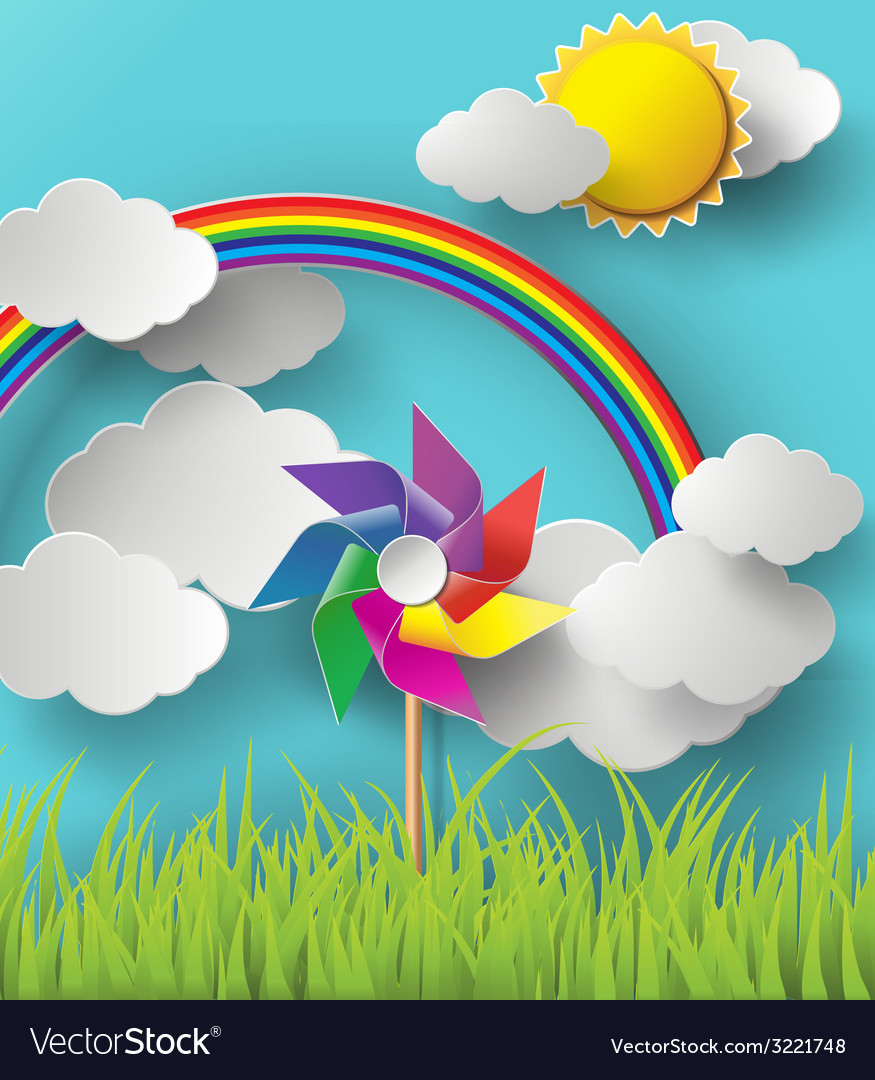 Wind mill with sky vector | Price: 1 Credit (USD $1)