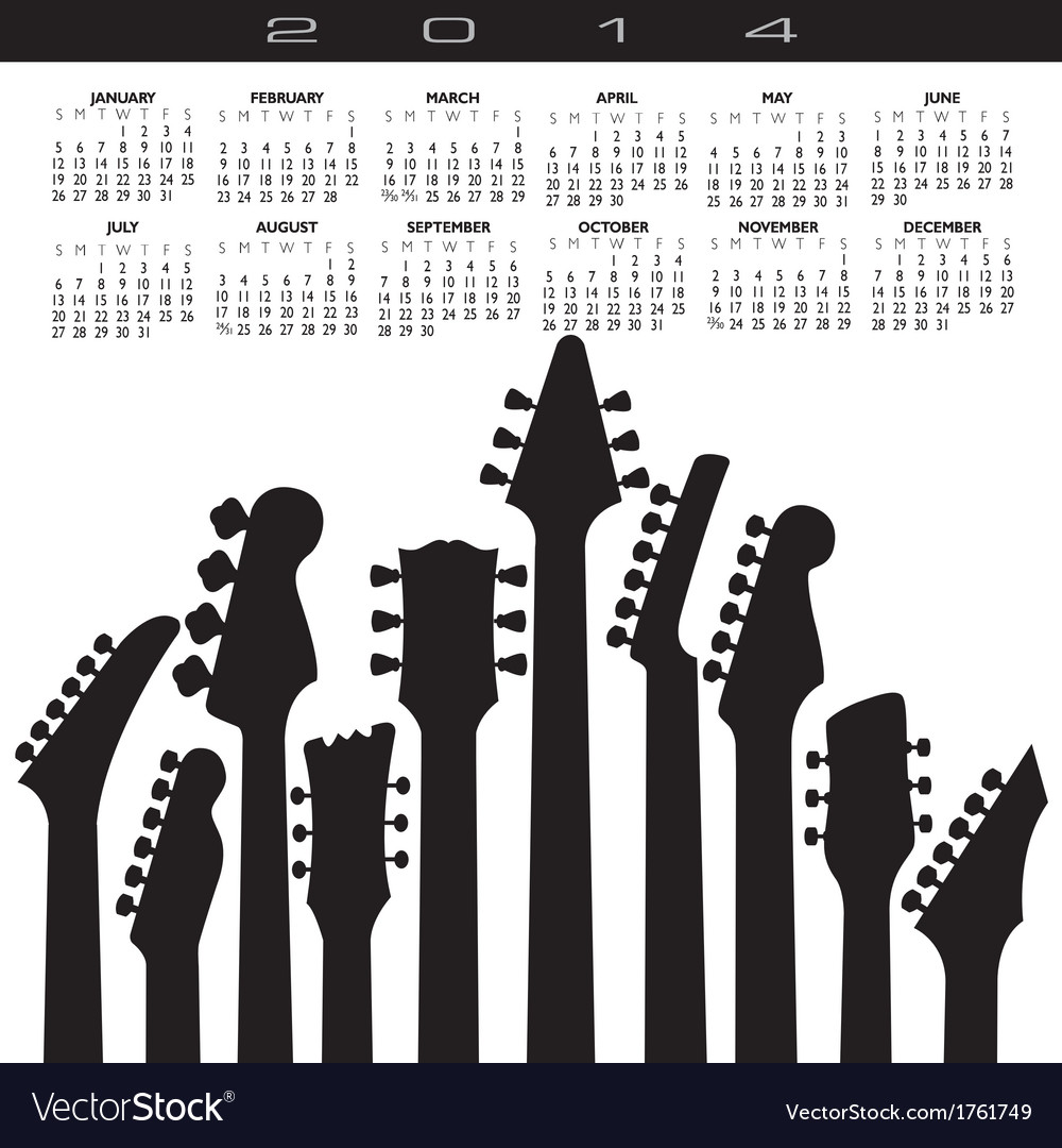 2014 guitar headstock calendar vector | Price: 1 Credit (USD $1)