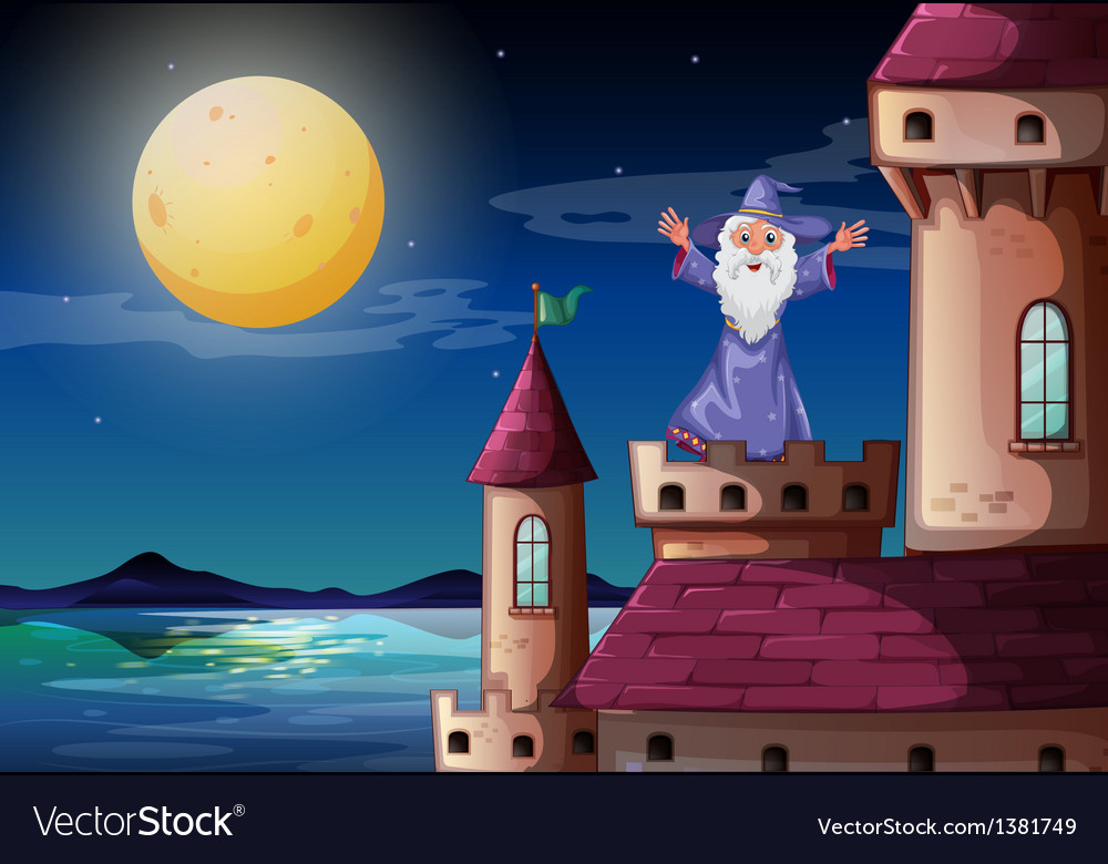 A wizard standing above a castle port vector | Price: 1 Credit (USD $1)