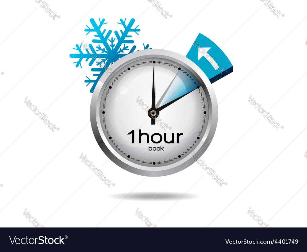 Clock switch to winter time vector | Price: 3 Credit (USD $3)