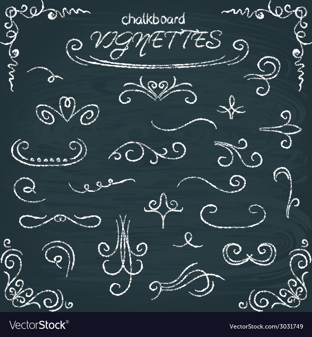 Collection of chalkboard vignettes vector | Price: 1 Credit (USD $1)