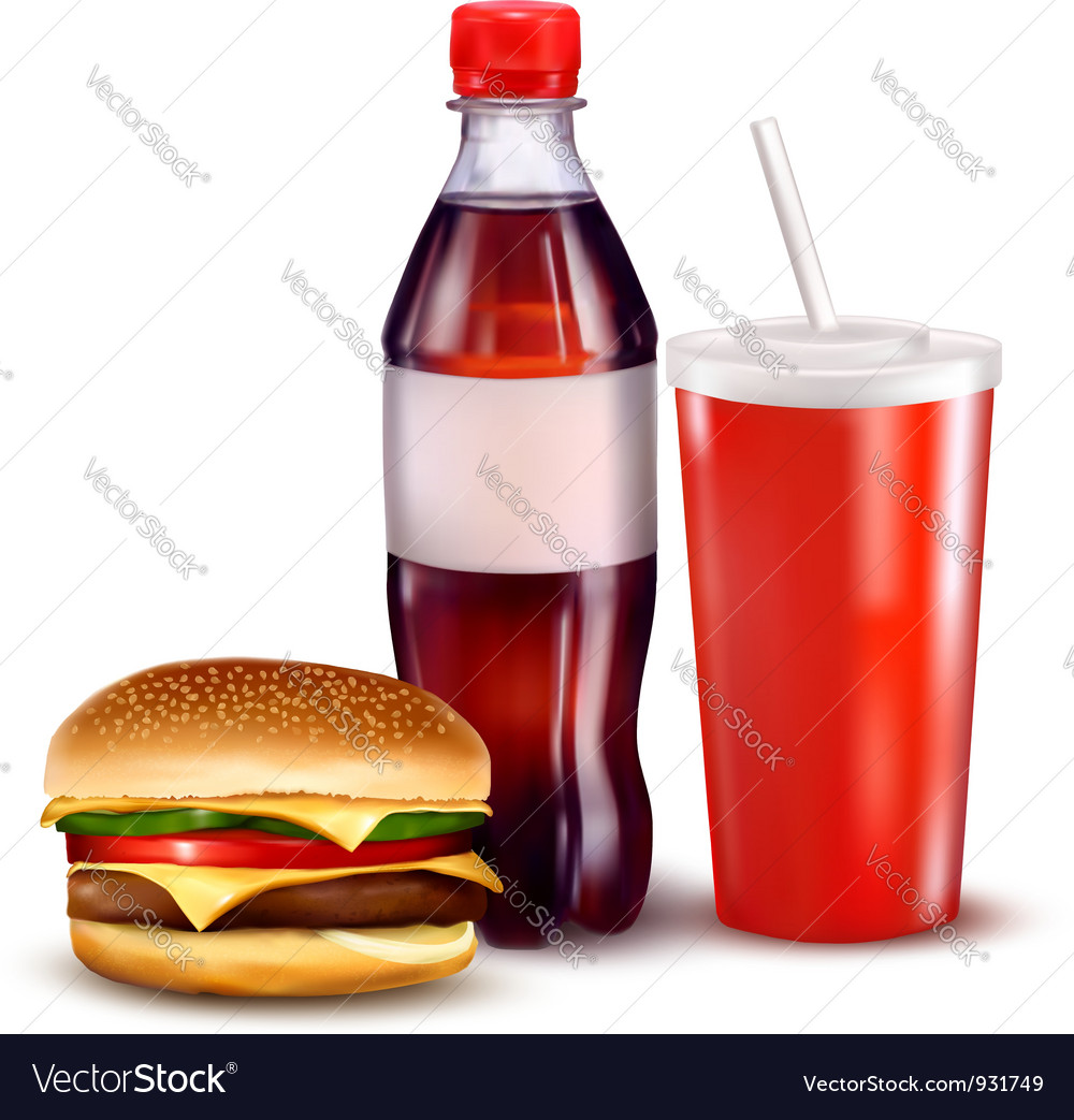 Hamburger and cola and bottle vector | Price: 3 Credit (USD $3)