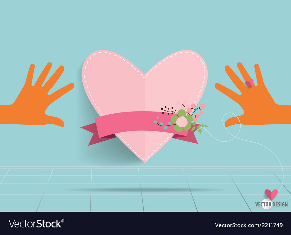 Hands holding heart heart paper with floral vector | Price: 1 Credit (USD $1)