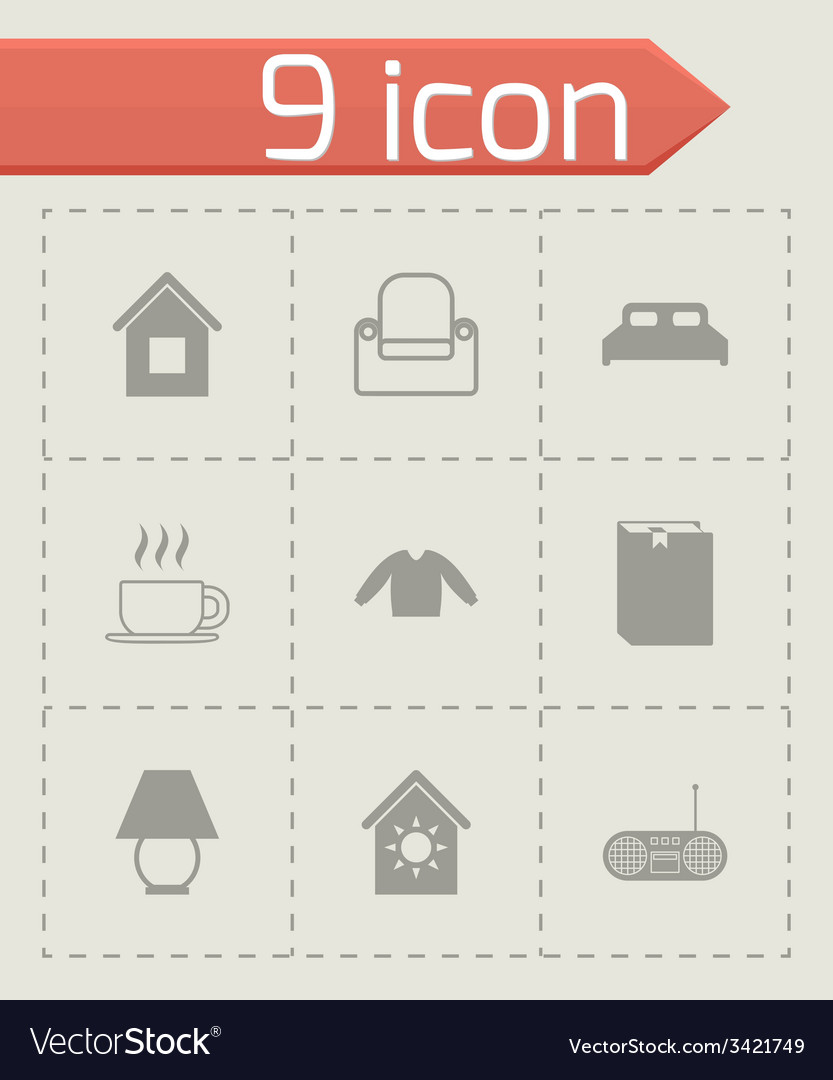 Homey icon set vector | Price: 1 Credit (USD $1)