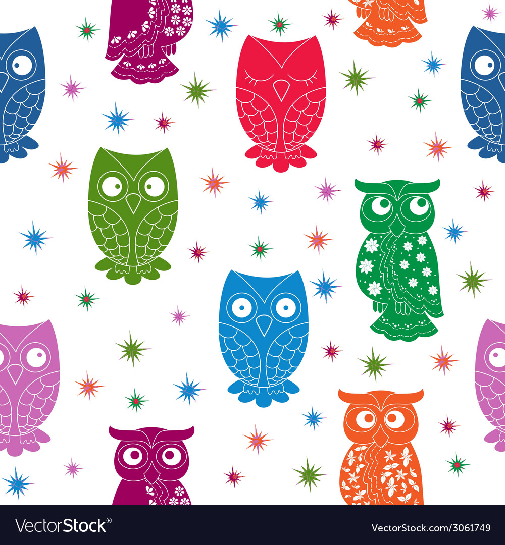 Multicolour owl and stars seamless pattern vector | Price: 1 Credit (USD $1)