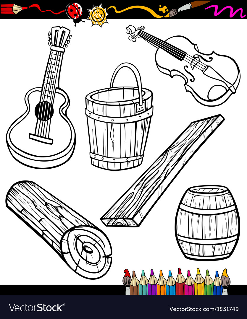 Objects cartoon set for coloring book vector | Price: 1 Credit (USD $1)