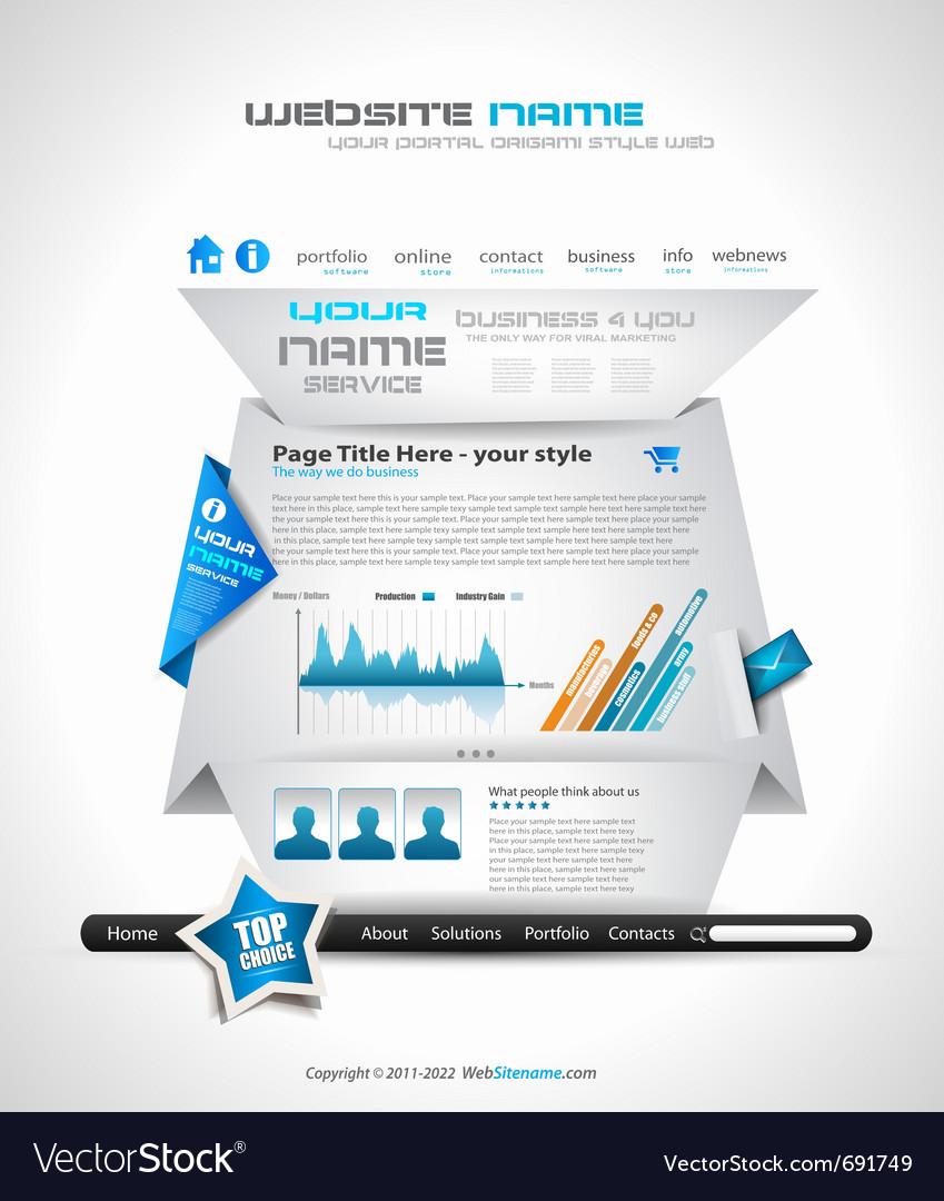 Origami website vector | Price: 3 Credit (USD $3)