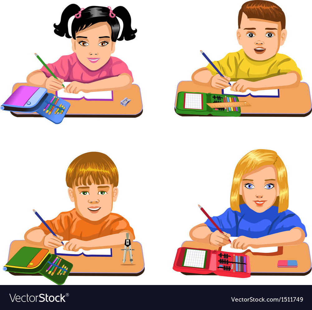Pupils writing vector | Price: 3 Credit (USD $3)