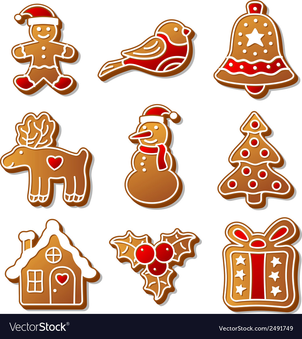 Set of christmas ginger breads for your design vector | Price: 1 Credit (USD $1)