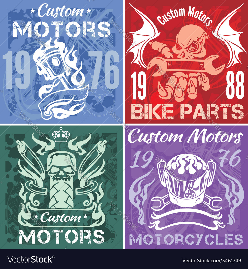 Set of vintage motorcycle labels stpck vector | Price: 1 Credit (USD $1)