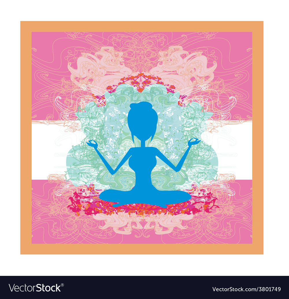 Silhouette of a girl in yoga pose vector | Price: 1 Credit (USD $1)