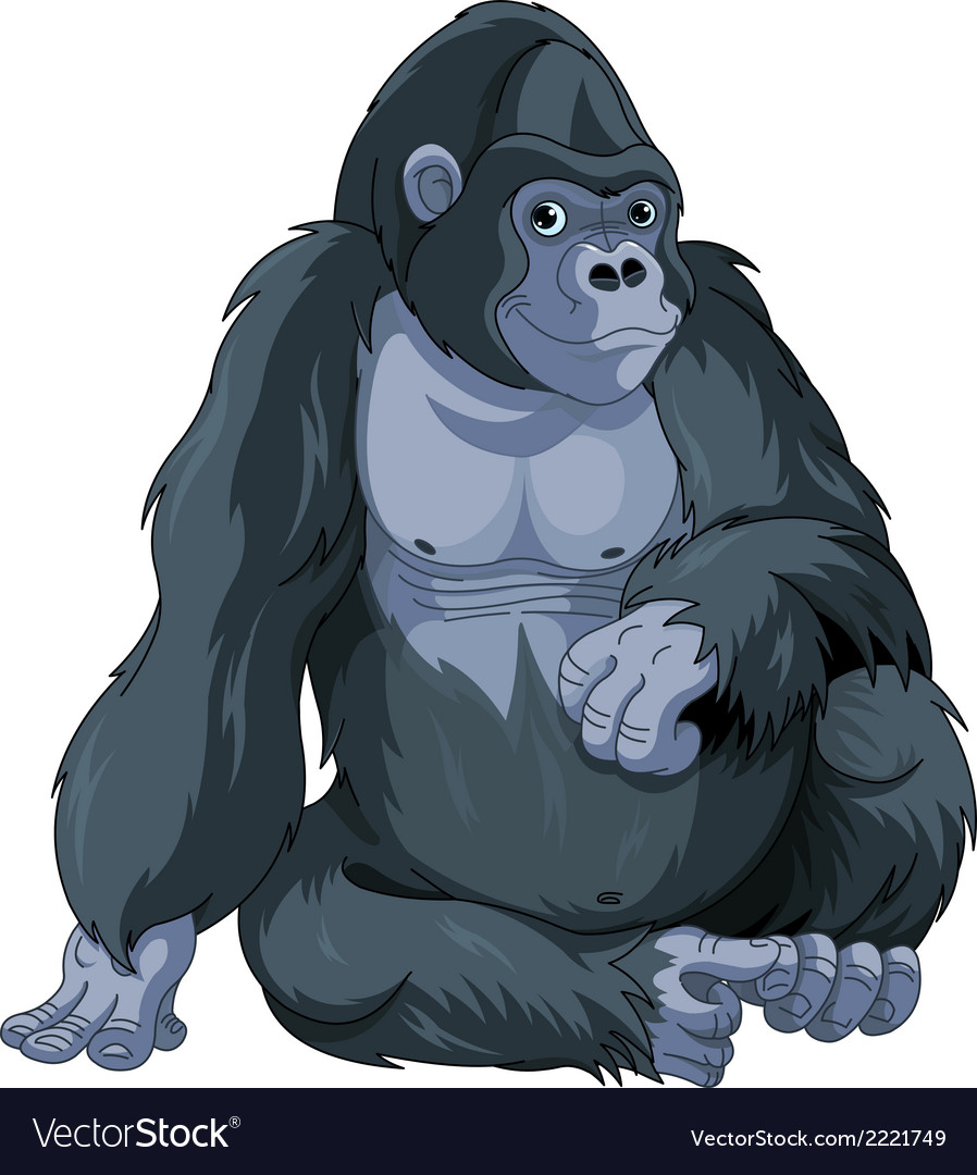Sitting gorilla vector | Price: 3 Credit (USD $3)