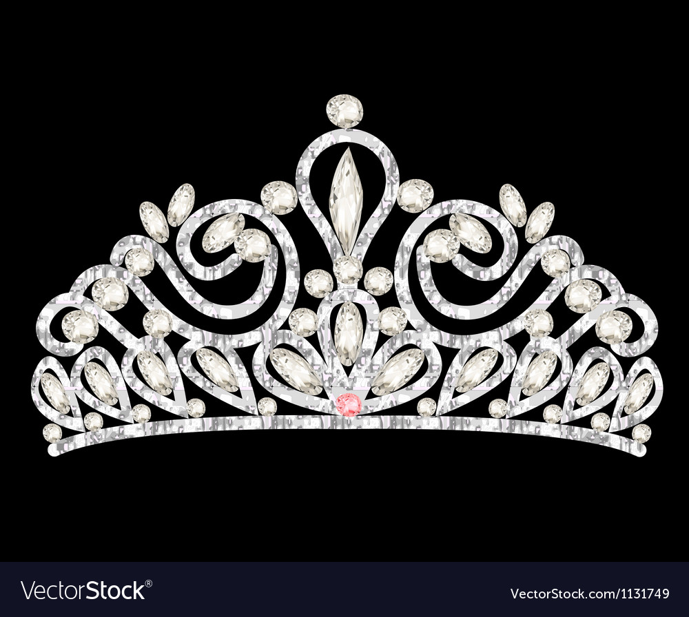 Tiara crown womens wedding with white stones vector | Price: 1 Credit (USD $1)