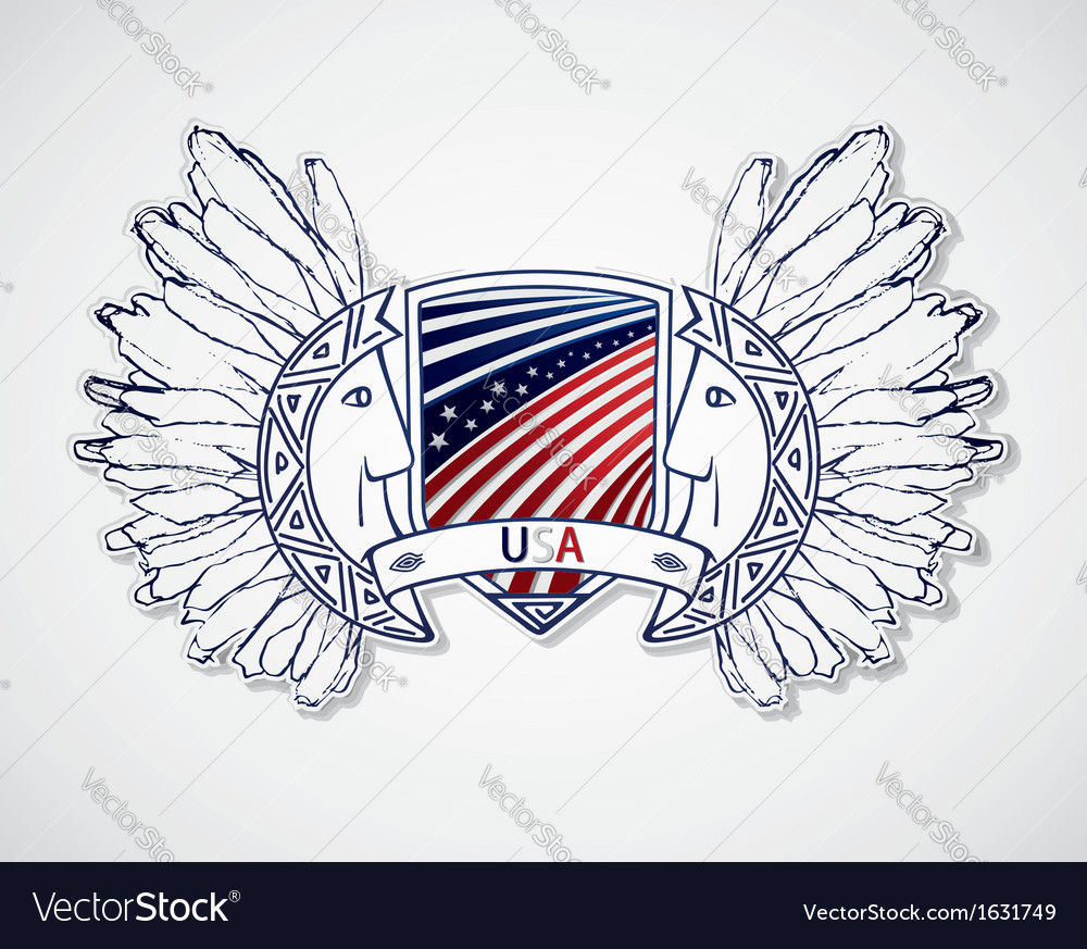 Usa emblem in the traditional style of the peoples vector | Price: 1 Credit (USD $1)