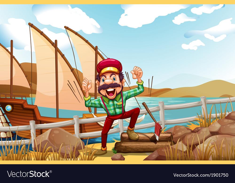 A lumberjack shouting vector | Price: 5 Credit (USD $5)