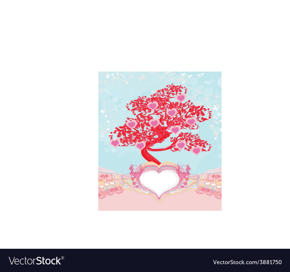 Abstract heart tree - beautiful valentines card vector | Price: 1 Credit (USD $1)