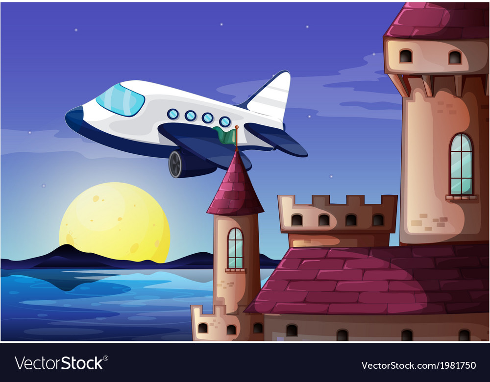 An airplane near the castle vector | Price: 1 Credit (USD $1)