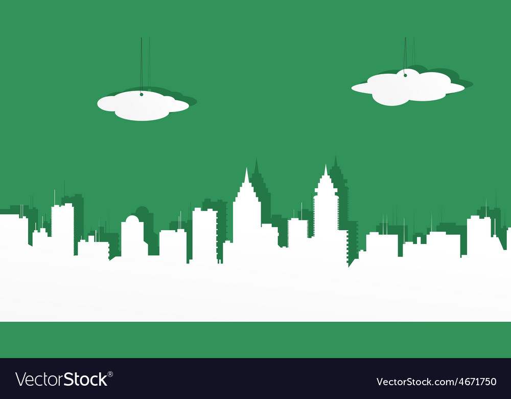 The city from white paper on a green background vector   Price: 1 Credit (USD $1)