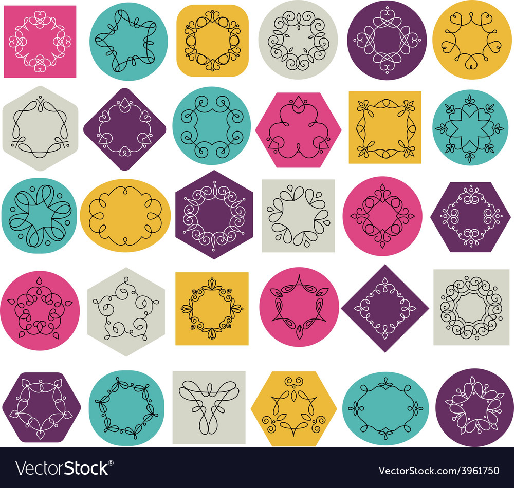 Collection of abstract geometrical icons elements vector | Price: 1 Credit (USD $1)