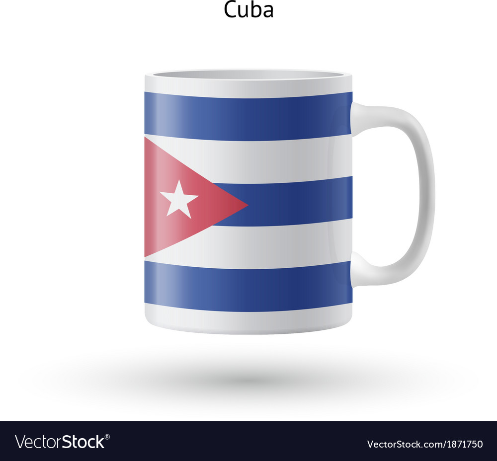Cuba flag souvenir mug on white background vector | Price: 1 Credit (USD $1)