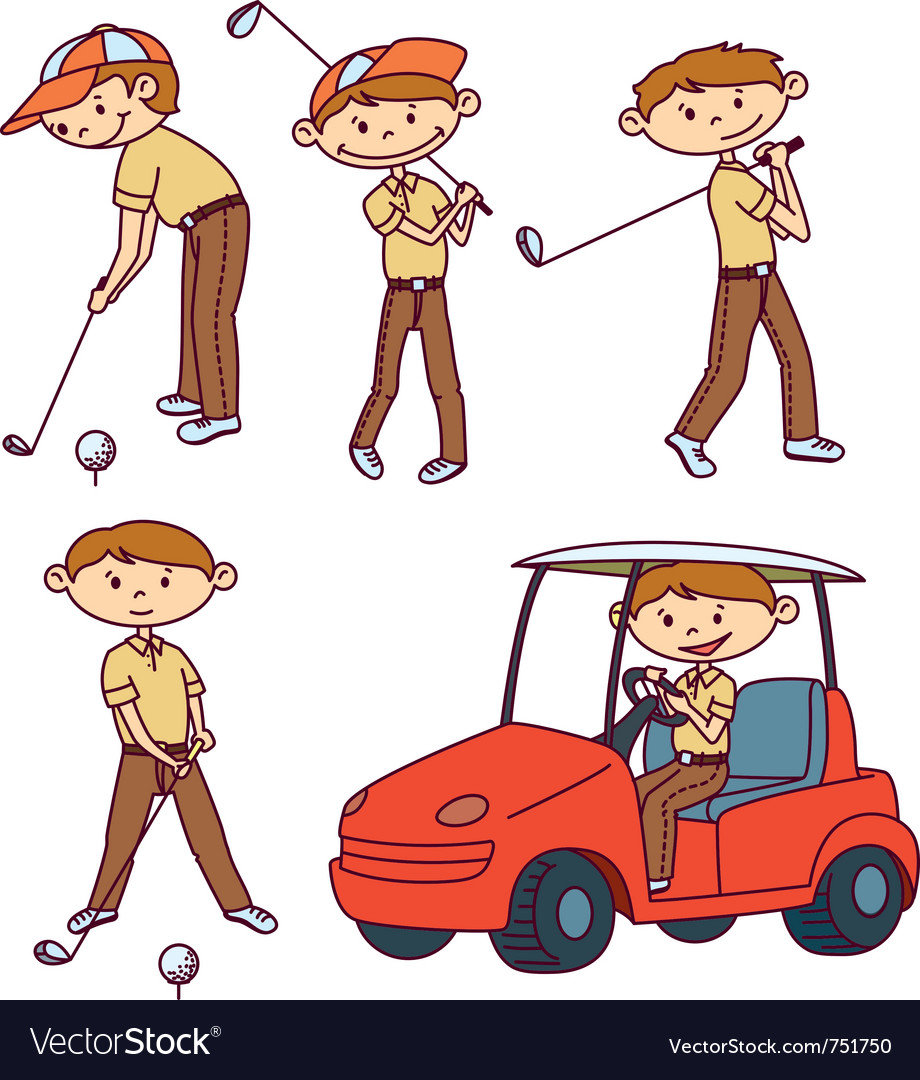 Cute doodle golf players set vector | Price: 1 Credit (USD $1)