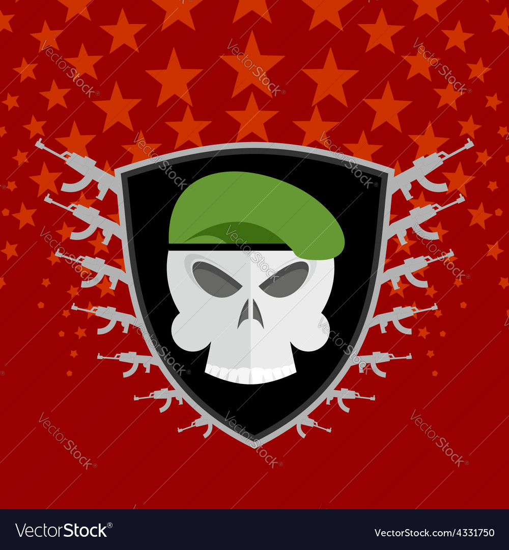 Emblem military skull beret with weapons vector | Price: 1 Credit (USD $1)