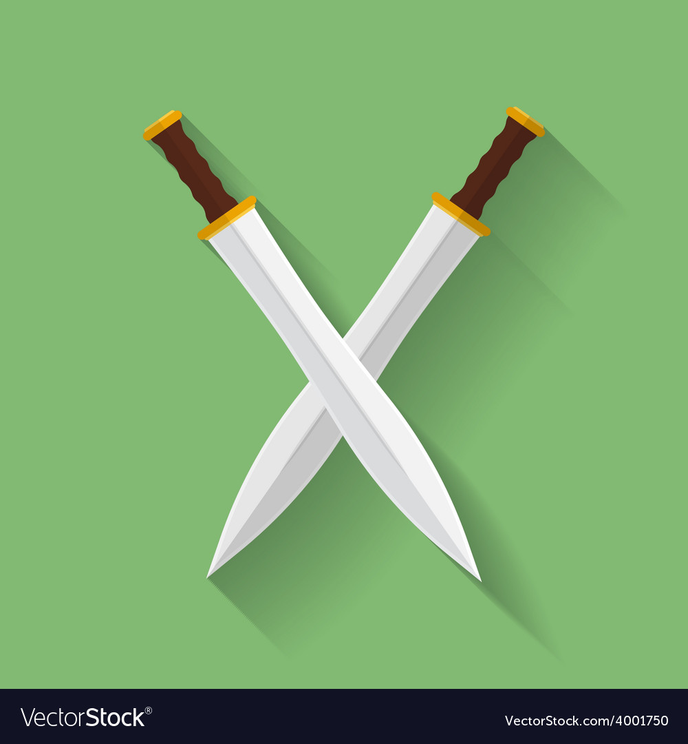 Icon of ancient swords flat style vector | Price: 1 Credit (USD $1)