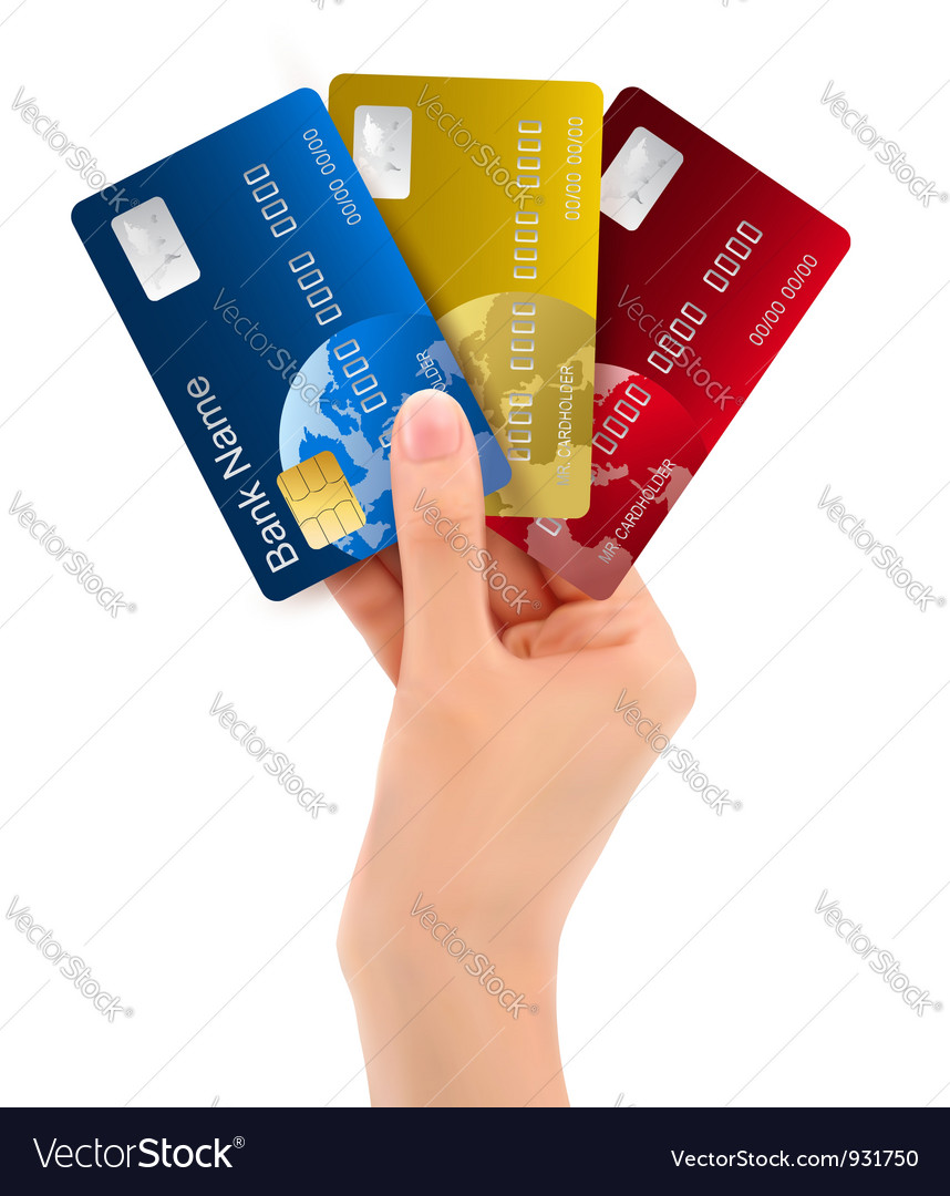 Male hand showing credit cards vector | Price: 3 Credit (USD $3)