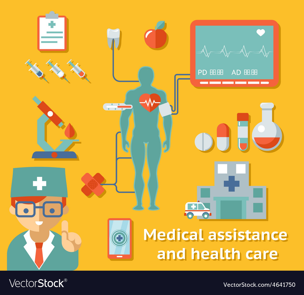 Medical assistance and health care concept vector | Price: 1 Credit (USD $1)